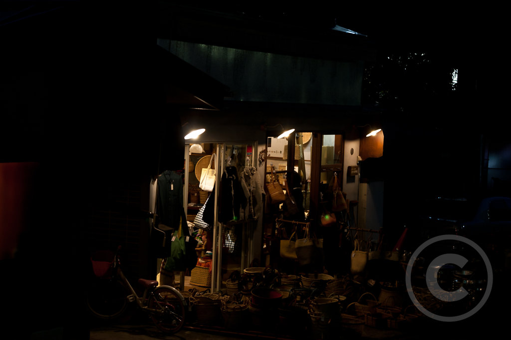 Traditional shop at night