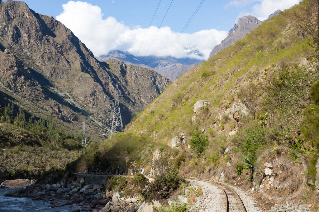View of the train track to Machu Picchu
